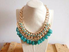 Bisutería : Collar de piedras verdes colgantes Green stones necklace 10€ WWW.elarmarioturquesa.com