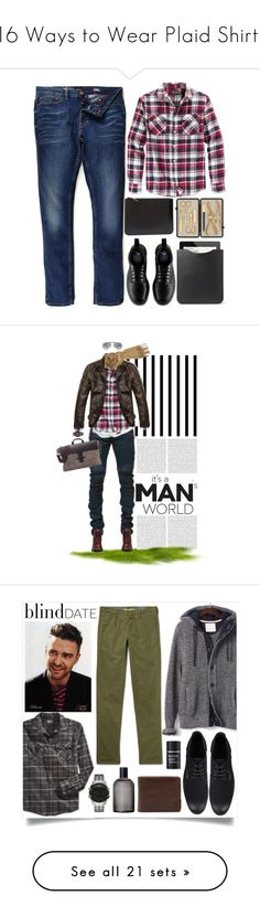 """""""16 Ways to Wear Plaid Shirts"""" by polyvore-editorial ❤ liked on Polyvore featuring menswear, plaidshirt, waystowear, Retrofit, River Island, Dr. Martens, Comme des Garçons, Mulberry, Czech & Speake and mens"""