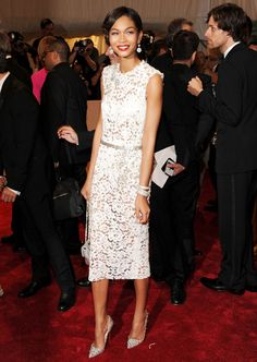Dolce and Gabbana white lace sheath at the MET ball in New York