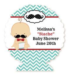 Little Man Mustache - Personalized Baby Shower Centerpieces