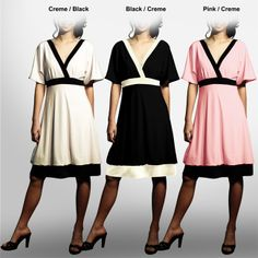 Dress is a cute and chic addition to your closet Kimono Sleeve Dress features bubble hemline Womens dress features surplice wrap neckline Contrast colored collars, waist and bottom band are very fashionable High-waisted top part will make you look taller and slimmer PulloverFully LinedApproximate length from top center back to hem: 35 inches Available in creme/black, black/creme and pink/black color options 92-percent polyester/8-percent spandex Hand wash or dry clean Model number…