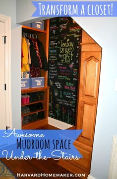 Turn a Closet into an Awesome Mudroom Space with a Fun Chalk Wall - Harvard Homemaker