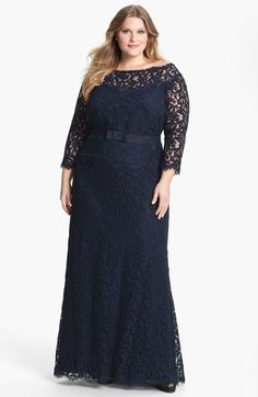 THIS.  Tadashi Shoji Mock Two Piece Lace Gown (Plus Size) available at #Nordstrom