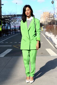 Nicole Warne of The Gary Pepper Girl // lime green suit