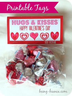 Hugs and Kisses Valentine Printable for class treats - so easy to pull together and about the same price as store bought cartoon ones!  Free Printable