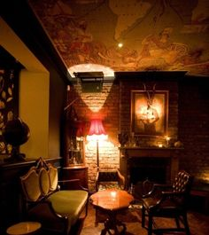 """Speakeasy ambiance--for the men's room """"aka cigar room"""""""