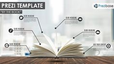 Prezi Template with an open book on wood table and a blurred office background.  Present about reading, education, writing, instructions or anything that can be related with books.  Customize the lines and circles by changing their shape or color – use symbols to illustrate each topic.  A professional looking prezi template suitable for an education, school or business presentation.