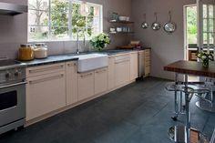 Porcelain tile floors in a kitchen