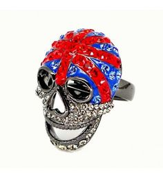 Butler & Wilson Pewter & Crystal Union Jack Skull Adjustable Ring at Zentosa