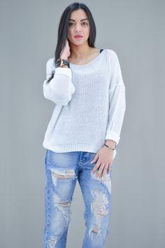 Γυναικείο πουλόβερ oversize   Γυναίκα - Πλεκτά και ζακέτες - Pullover, Sweaters, Fashion, Moda, Fashion Styles, Sweater, Fashion Illustrations, Sweatshirts, Pullover Sweaters