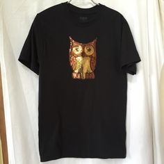 """Embellished black bronze gold owl tee shirt Approximately 34"""" pit-to-pit 27"""" long Tops Tees - Short Sleeve"""
