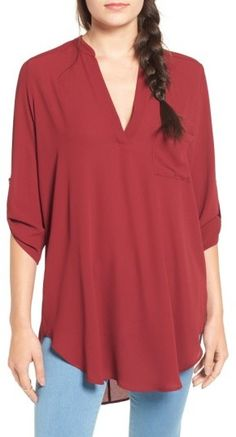 Women's Lush Perfect Roll Tab Sleeve Tunic  #affiliate