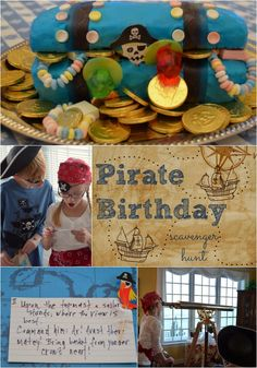 Pirate birthday party: scavenger hunt idea with written clues.