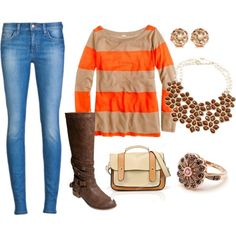 """""""orange and brown fall outfit"""" by katmcbroom on Polyvore"""