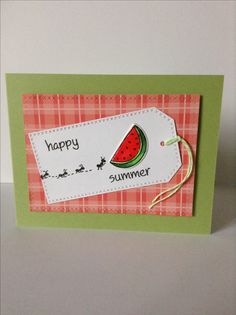 Watermelon card by Melodie.  Lawn Fawn Happy Summer stamp set.