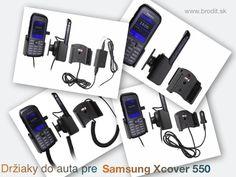 Nové držiaky do auta pre Samsung Xcover 550 B550H. Pasívny držiak Brodit pre pevnú montáž v aute, aktívny s CL nabíjačkou, USB alebo s Molex konektorom.