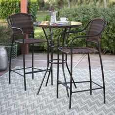 Get ready to enjoy good conversation in style with the Coral Coast Santa Cruz Bar Height Bistro Set . This bistro set is ideal for smaller spaces, like. Outdoor Pub Table, Outdoor Bar Sets, Patio Table, Outdoor Chairs, Outdoor Decor, Affordable Outdoor Furniture, Wicker Dining Set, Tempered Glass Table Top, Small Balcony Decor