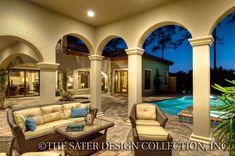 "Courtyard. The Sater Design Collection's luxury, courtyard home plan ""Casoria"" (Plan #6797). saterdesign.com"