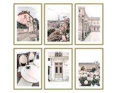 Paris Wall Decor Pastel Home Decor Prints Gallery Wall Set of 6 Original Photography