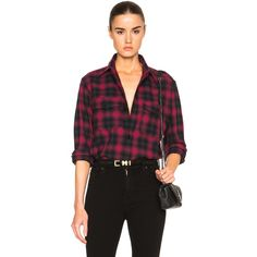 Saint Laurent Plaid Tartan Oversize Shirt (€805) ❤ liked on Polyvore featuring tops, button ups, plaid top, oversized button down shirt, yves saint laurent, tartan shirt and plaid shirt