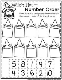 Witch Hat Number Order - Preschool Math Worksheet for Halloween Looking for fun Preschool Halloween Activities? This set of fun Hands-on Centers and Printables are the perfect addition to your Preschool Halloween Theme. Halloween Theme Preschool, Halloween Worksheets, Fall Preschool, Preschool Lessons, Preschool Math, Kindergarten Classroom, Numbers Preschool, Preschool Printables, Halloween