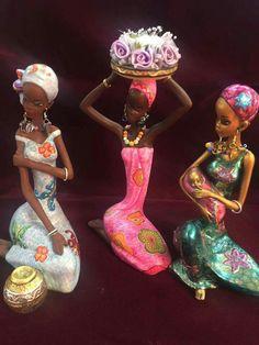 African Figurines, African American Figurines, African American Art, Black Women Art, Black Art, African Crafts, African Dolls, African Sculptures, Art Africain