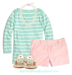 """""""J.Crew tee & shorts"""" by steffiestaffie ❤ liked on Polyvore featuring J.Crew and Jack Rogers"""