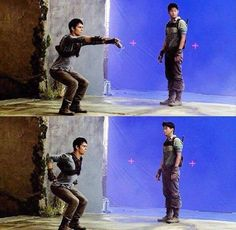 Behind the scenes of the maze runner hahaha