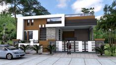 One Story House Plan Sketchup Home Design. This villa is modeling by SAM-ARCHITECT With 1 stories level. It's has 4 bedrooms. One Story House Plan Modern Exterior House Designs, Modern Small House Design, Dream House Exterior, Exterior Design, Single Floor House Design, House Front Design, Model House Plan, New House Plans, Plans Architecture