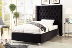 Meridian Furniture Aiden Black Modern black high tufted headboard twin bed Few color options. This wing All Modern Furniture, Traditional Furniture, Black Velvet Fabric, Mirrored Bedroom Furniture, Meridian Furniture, Buy Bed, Black Bedding, New Beds, Cool Beds