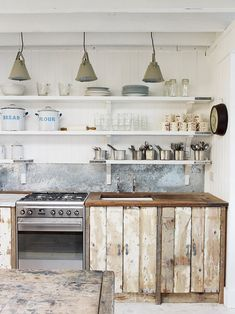 Rustic & beachy industrial kitchen / dining The White Cabin - The Big Cottage Company Kitchen Inspirations, Interior, Kitchen Remodel, Kitchen Decor, Cottage Design, White Cabin, Rustic Kitchen Cabinets, Country Kitchen Designs, Home Kitchens