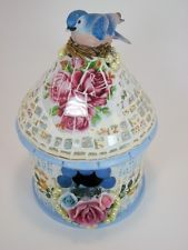 Bluebird Birdhouse Handcrafted Mosaic- w/ Red Roses, Pinks, Blue and Yellow