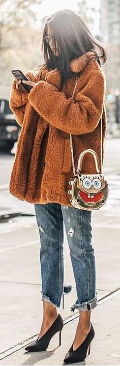 #winter #outfits brown coat