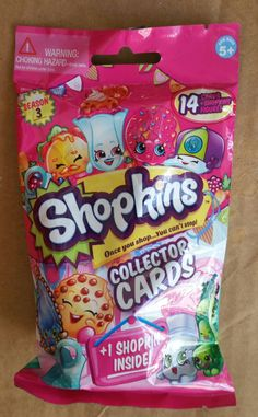 Bulls itoy Shopkins Season 3 - 14 Collector Cards + Shopkins Figure Blind Bag - Assorted x8 Sealed Packs by Moose Toys