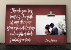 WEDDING gift for PARENTS Mother Father of Bride from Groom, Thank you for raising the girl of my dreams, Personalized Free, Photo Clip Frame by RusticReflectionsDS on Etsy