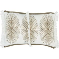 Lacefield Designs Tulum Taupe Pillow with White Fringe