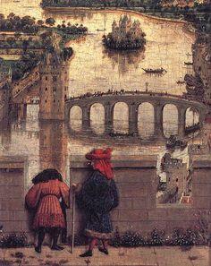 "Detail from ""Madonna des Kanzlers Nicholas Rolin"" by Jan van Eyck European Paintings, Classic Paintings, Beautiful Paintings, Medieval World, Medieval Art, Robert Campin, Renaissance Artworks, Madonna, Jan Van Eyck"