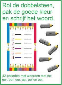 Rol, pak de kleur en schrijf. Woorden met de letters: eer, oor, eur, ooi, aai en oei.
