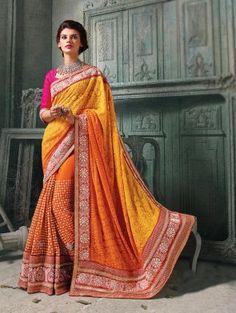 Yellow And Orange Lakhnavi Saree With Zari Work