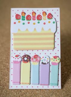 Sticky notes birthday cake planner supplies