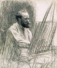 Portrait of Édouard Manet loquaciousconnoisseur: Léon Augustin Lhermitte