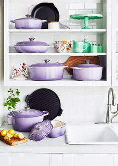 Iconic French kitchenware company Le Creuset is adding to its dynamic collection with a new line of purple-colored cooking essentials. Considering violet is expected to be hottest color, we're excited to add these pots into our kitchen mix Lavender Decor, Provence Lavender, Lavender Kitchen, Rental Home Decor, Cute Furniture, Apartment Kitchen, Apartment Interior, Decorating Your Home, Decorating Ideas