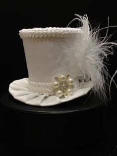 White Mini Top Hat for Wedding. Dress Up, Birthday, Tea Party or Photo Prop.