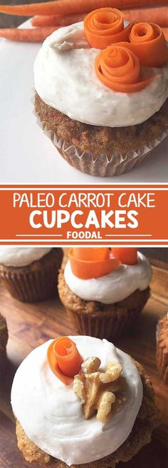 Have a strict diet, but love sweets? Try our recipe for gluten-free and dairy-free paleo carrot cake cupcakes with coconut whipped cream. Now on Foodal. Paleo Carrot Cake, Carrot Cake Cupcakes, Wedding Cakes With Cupcakes, Paleo Dessert, Healthy Desserts, Dessert Recipes, Sweet Desserts, Fluffy Icing, Almond Flour Cakes