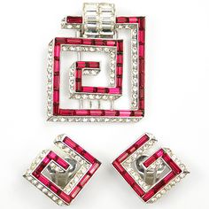 MB Boucher Ruby Baguette Deco Maze Pattern Pin Clip and Clip Earrings Set