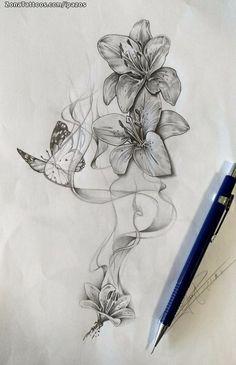 Cute Tattoos For Women With Meaning 3d Flower Tattoos, Vine Tattoos, Beautiful Flower Tattoos, Feather Tattoos, Flower Tattoo Designs, Leg Tattoos, Body Art Tattoos, Tatuajes Tattoos, Tatoos
