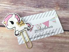Pink/Gold/Kawaii Flying Unicorn/Sparkle Applique Paper Clip/Planner Clip/Bookmark/Journal Marker by pinkiebows on Etsy
