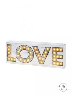 Decorazione luminosa love. Decorazione tavolo luminosa con scritta love. Il supporto è in cartoncino bianco.  Misure: 40cm x 15cm x 5cm. In #promozione #matrimonio #weddingday #wedding #ricevimento #insegne #decorazioni #luci #banner #illuminatedsigns #decorations #lights