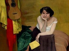 Femme brune assise de face, avec guitar - Félix Vallotton 1913