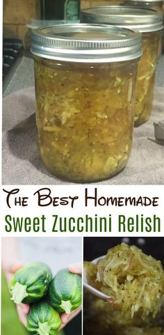 The BEST recipe for sweet zucchini relish and a great way to us up an abundance of zucchini from the garden! This relish is delicious on hamburgers, brats and even baked potatoes! - it'll turn out just as incredible. Zuchini Relish, Zucchini Relish Recipes, Canning Zucchini, Zucchini Salsa, Zucchini Pickles, Pickled Zucchini, Jam Recipes, Canning Recipes, Jelly Recipes